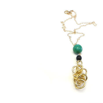 Gold Teal Lanyard Necklace Wire Art Modern Spring Jewelry Graduation Gift
