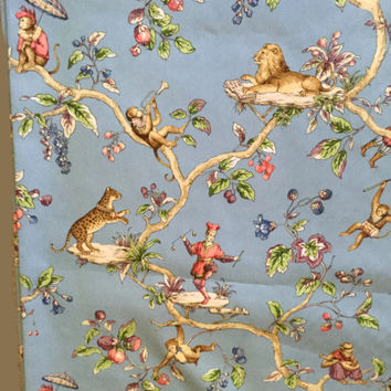 4 Yards of P Kaufmann Fabric, Circus Theme with Monkeys, Lions, Jesters, Cheetahs, Cotton Drapery Upholstery