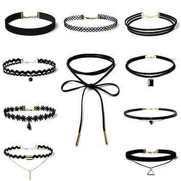 Best Deal New Fashion 10 Pieces Women Black Rope Choker Necklace Set