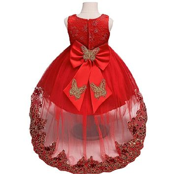 Girl Red Butterfly Tail Party Dress