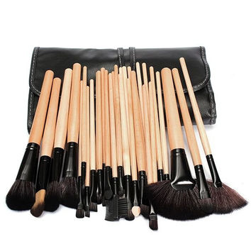 MANNGE 32 Pcs Professional Makeup Brush Set Lip Eyeliner Eyeshadow Brushes With Black Bag