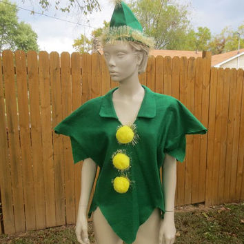 50s Clown Costume / 50s Halloween Costume  / 50s Elf Costume / Vintage Felt Costume / 1950s Hat
