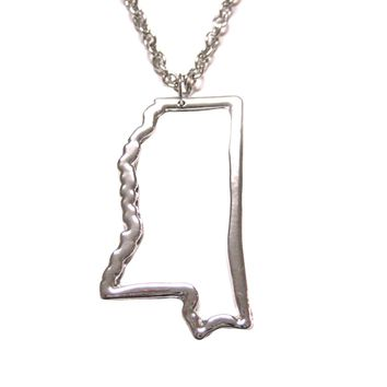 Silver Toned Mississippi State Map Outline Pendant Necklace