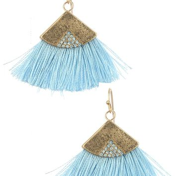 Burnice Blue Yarn Fringe Earrings