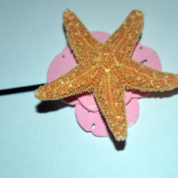 Starfish and Pink Sand Dollar Bobby Pins , Beach Wedding Hair