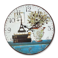 PARIS Large 13.50x13.50 Inches Wall Clock Mdf Wood Shabby Chic Cottage Style
