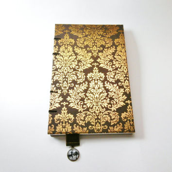 Travel Journal | Gold Damask Journal | Handmade Gift for Writer | Coptic Stitch Writing Journal | Personal Diary | Velvet Ribbon Bookmark