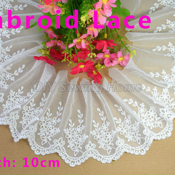 10cm width cotton Embroid sewing ribbon guipure lace trim or fabric warp knitting DIY Garment Accessories free shipping#2946