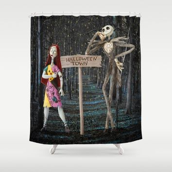 Halloween Town | Jack | Sally | Christmas | Nightmare Shower Curtain by Azima