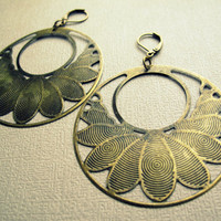 Lotus Flower Hoop Earrings - Aged Brass Gypsy Hoop Dangle Earrings - Gypsy Urban Chic Dangle Earrings