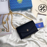Kuyou Gb99822 Tory Burch Twist Chain Wallet In Black Grained Leather 1986 19cm*13cm*5cm