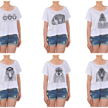 Women Hand Draw Monkeys Printed Cotton Croptop WTS_08