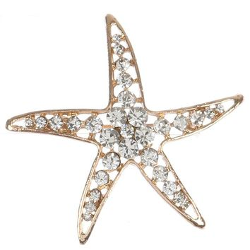 Pave Crystal Stone Starfish Metal Pin And Brooch 121