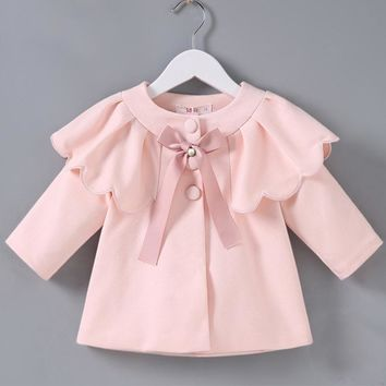 Baby Sweater Pink Long Sleeve Cardigan For Girls Children's Clothes with Cape Baby Boutique Outerwear Winter Baby Outfits B014