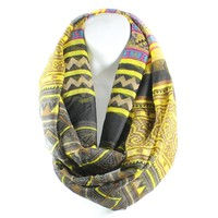 AN- Lightweight Bold Colors Aztec Print Infinity Circle Scarf (Brown)