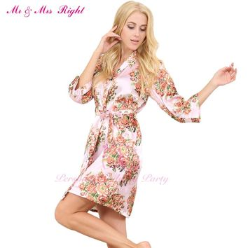 MR & MRS RIGHT New Satin Floral Wedding Robe Sexy Bridal Nightgown Bride Kimono Bridesmaid Pajamas Party Gift Silk Robe Bathrobe
