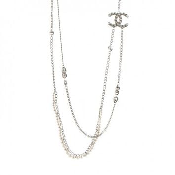 CHANEL Pearl CC Long Chain Necklace Silver