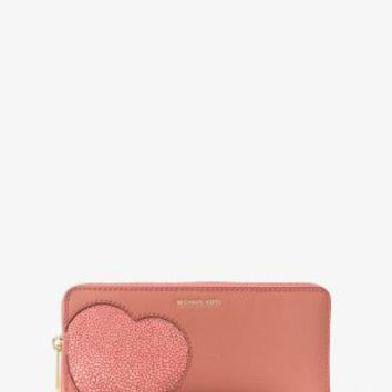 Hearts Saffiano Leather Continental Wristlet | Michael Kors