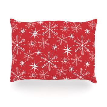 "Julie Hamilton ""Snowflake Berry"" Holiday Oblong Pillow"