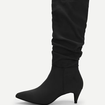 Plain Pointed Toe Ruched Boots