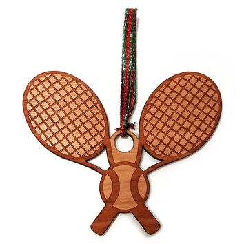 Tennis Racket and Ball Laser Engraved Wooden Christmas Tree Ornament Gift Seasonal Decoration