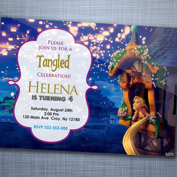 Tangled Rapunsel Sparkle, Birthday Party, Invitation Card Design