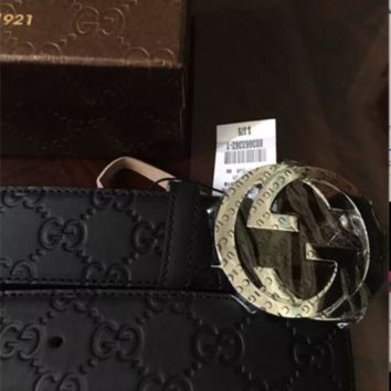DCCKONY8 NWT Gucci men's Black Guccissima Belt G buckle (multiple sizes available!)