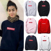 """Supreme"" Unisex Round Neck Top Sweater Pullover Sweatshirt"
