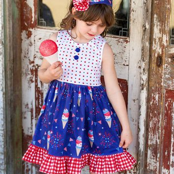 2018 4th of July boutique clothing for toddler girls patriotic cotton ruffle dress ice cream and star printed dresses
