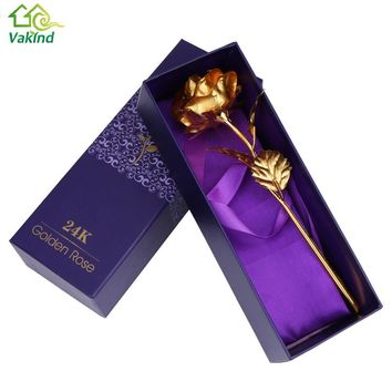 Home Decoration Flowers Valentine's Day Gift 24K Gold Plated Rose Flower Romantic for Lover Girl Friend Christmas Gifts