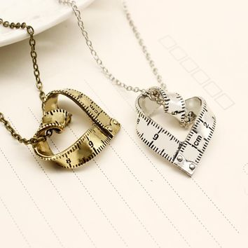 Heart Pendant Necklaces Personality Design Love Measurement Ruler Love Necklace Collares Mujer 2018 New