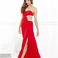Faviana 2013 Prom - Red Strapless Chiffon Prom Gown - Unique Vintage - Cocktail, Pinup, Holiday & Prom Dresses.