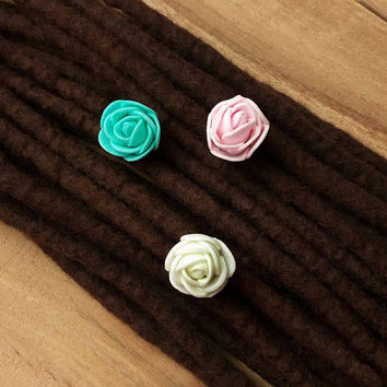Boho hair jewelry, hippie dreads, dreadlock jewelry, gipsy  fashion, roses, bohemian weddings, set of 3 hair beads