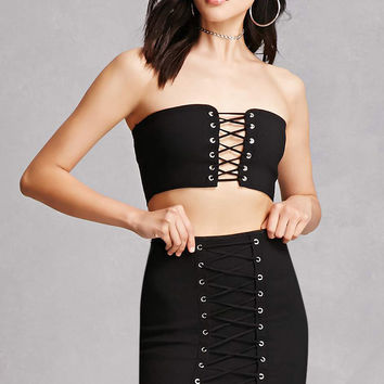 Grommet Crop Top & Skirt Set