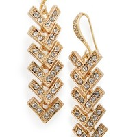 Women's Sole Society Crystal Chevron Drop Earrings - Gold