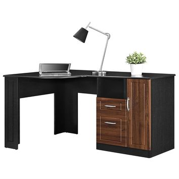 Black And Cherry Corner Desk With Closed Cabinet And Drawers