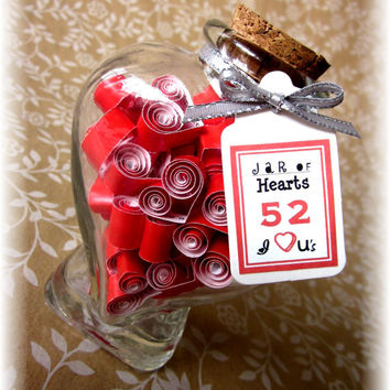 Anniversary Gift for Parents 52 I Love You's and Thank Yous in a Jar of Hearts Personalize Quotes Notes for Mom and Dad
