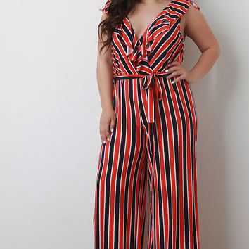 Plus Size Ruffle Surplice Striped Palazzo Jumpsuit | UrbanOG