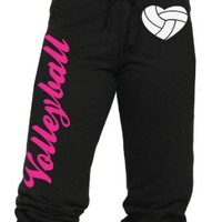 Volleyball Capri with Heart Shaped Volleyball Juniors Sizing S-L (Small, Black)