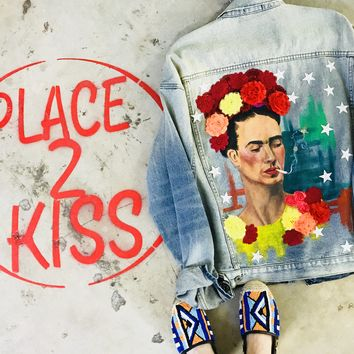 NEW Vintage Careless Frida Hand Painted Denim Jacket