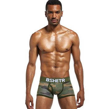 BSHETR Camouflage Breathable Boxer Briefs Trunks with U Convex Pouch