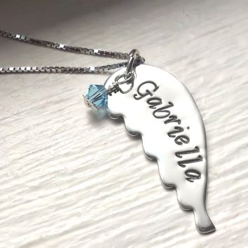 Angel Wing Sterling Silver Hand Stamped Personalized Necklace