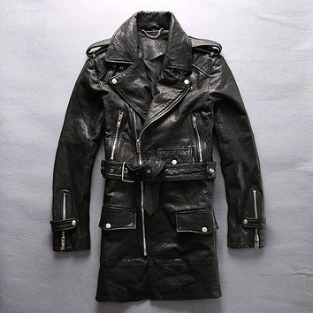 Genuine leather jacket male clothing navy fourposter trench commercial natural cow leather clothing medium-long leather jacket