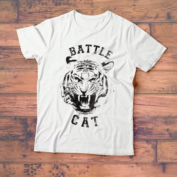 Battle Cat Tiger Tee Shirt  // Women's Graphic Tee // Street Wear Crewneck TShirt  // Boho Clothing - Bohemian Clothing // Women's Cat Shirt