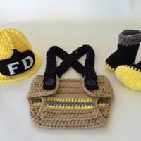 Baby Firefighter Fireman Yellow Hat Outfit - 4pc Crochet Diaper Cover Set w/Suspenders & Boots - Photography Prop - Newborn - 0-3 - 3-6