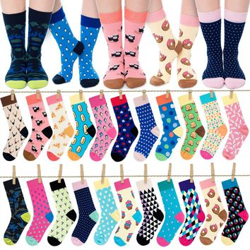 Foot 23-27cm Calf Crew Socks Fashion Funny Happy Dots Point Checked Navy Adult Popular Art Pop Ethnic National Camo Camouflage