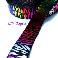 5 yards 7/8 tye dye grosgrain ribbon - metallic ribbon - animal print ribbon - Wholesale ribbon - hair bow supplies - DIY supplies
