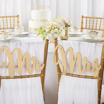 Mr and Mrs Classic Shimmer Gold Chair Backers. Made of wood. Set includes both designs. Perfect for sweetheart tables.