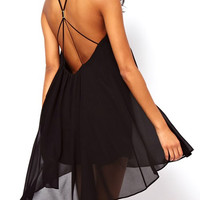 Spaghetti Strap Backless Chiffon Mini Dress