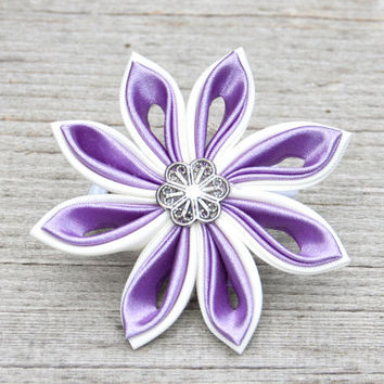 Hair accessories Tsumami Kanzashi violet purple white flower hair accessory. Ponytail holder.